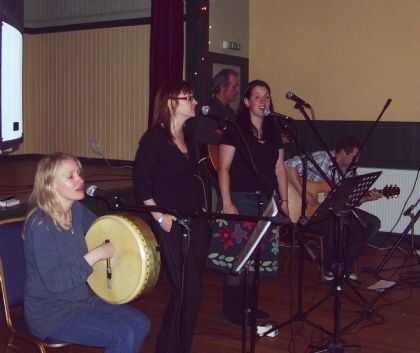 Aimee (bodhran), Sarah Jane and Emily perform in the Cromarty Hall, St Margaret's Hope with Frank Keenan and Alex Leonard on accompaniment 6th December 2008