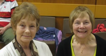 sisters ann tait and thora linklater, who sang two songs written by thora.  her song writing talent is wonderful